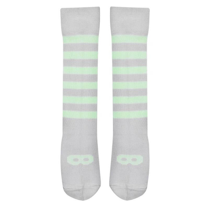 Beau Loves Knit Knee High Socks Mask and Stripes Lime Grey