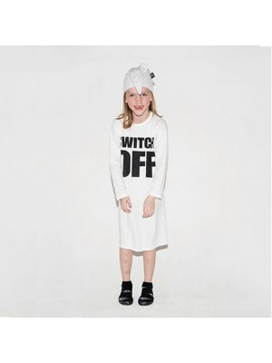 "NUNUNU girl lounge set ""Switch off"" white girl front"