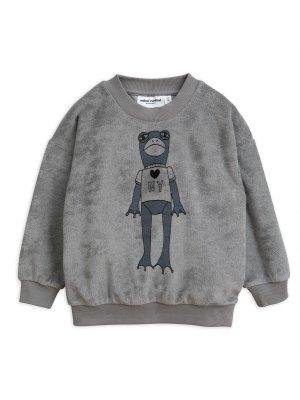 Neu: MINI RODINI Frosch Frottee Sweatshirt, grau