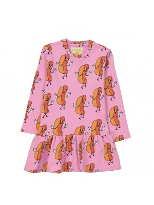 HUGO LOVES TIKI rosa Sweatshirtkleid Hot dogs