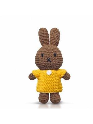 MELANIE Strickmelanie (Miffys Freundin) mit gelbem Kleid, handgemacht