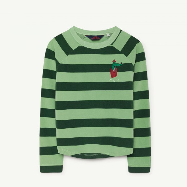 New: THE ANiMALS OBSERVATORY Cricket shirt green stripes