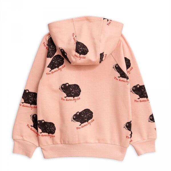 MINI RODINI, guinea pig zip hoodie, pale pink