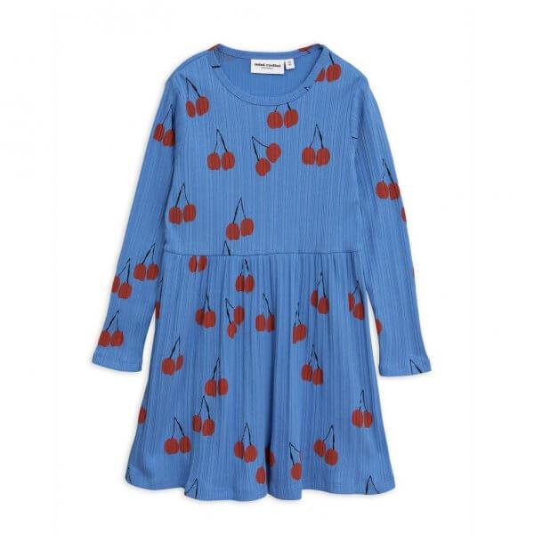 Mini Rodini blaues Kleid Kirschen
