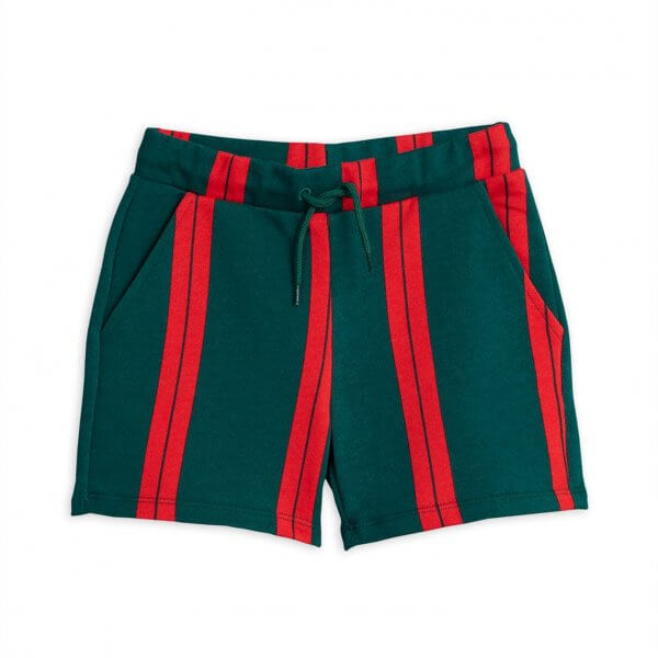 Minirodini_stripe_sweatshorts_green