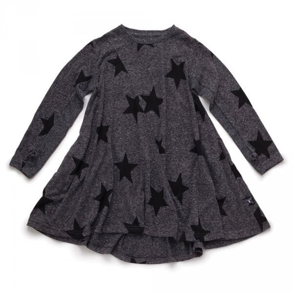 NUNUNU 360 star dress charcoal