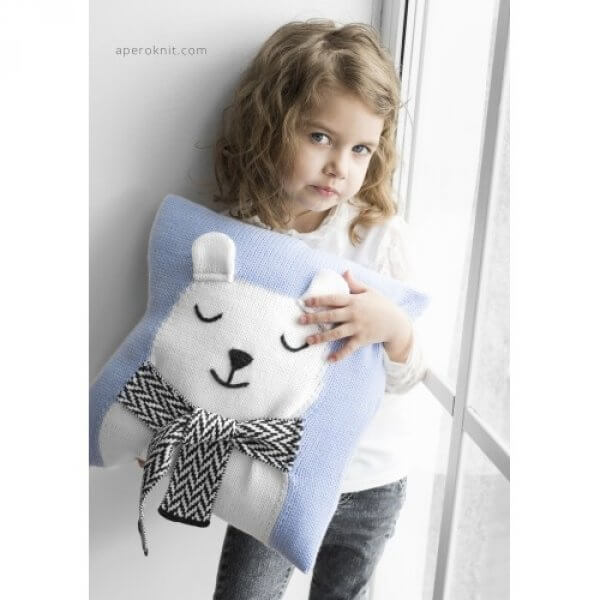 APERO KNIT pillow Bear light blue
