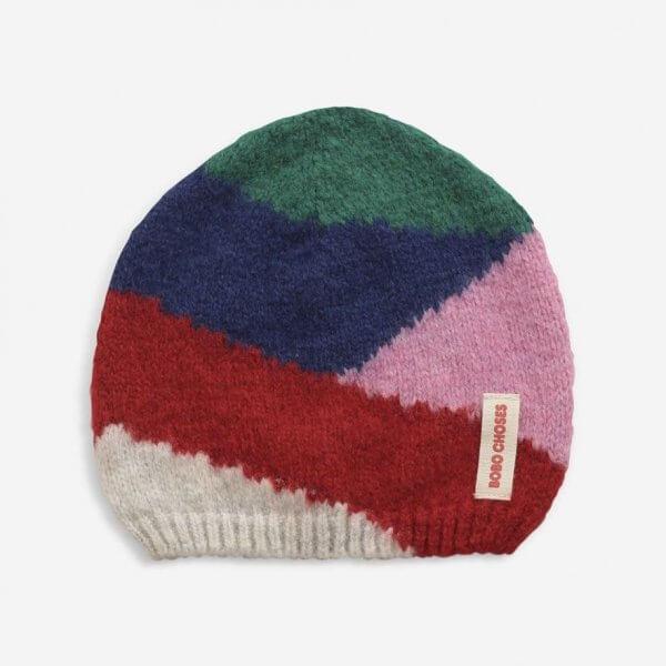 Bobo_choses_knit_beanie_colour_block_pink