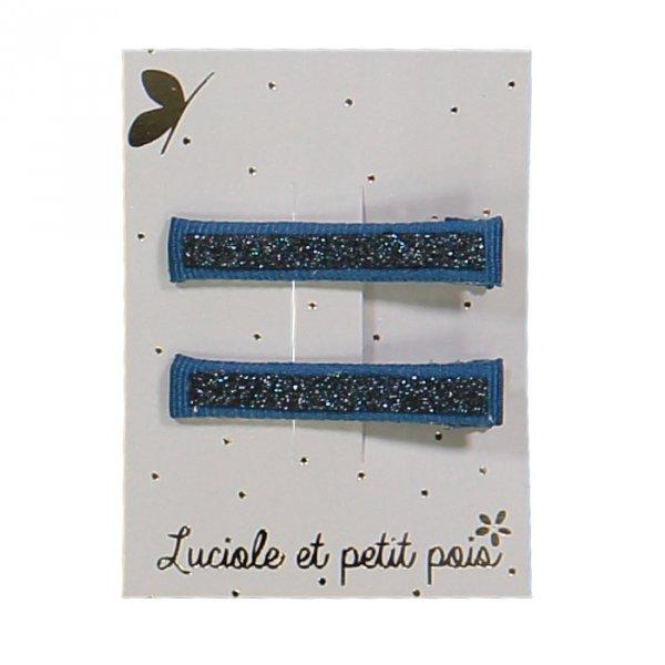 Luciole et petit pois glitter hair clips blue