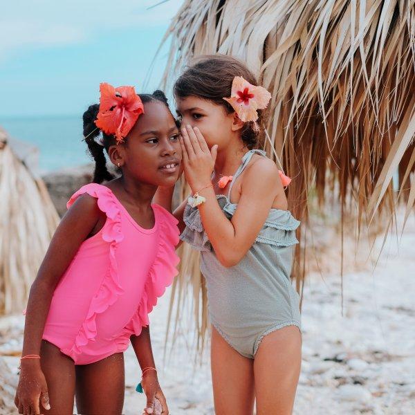 Louise Misha romantischer Kinder Badeanzug fluo pink 8