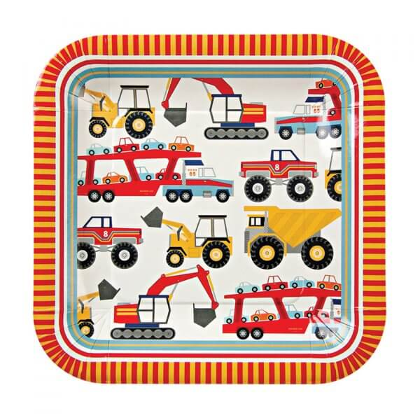 MERI MERI Big Rig large square paper plates - set of 12