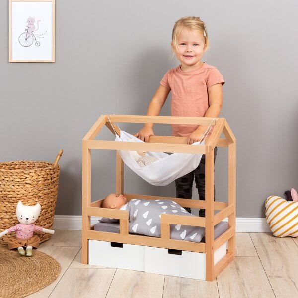 "MUSTERKIND® wooden bed / play house ""Barlia"" for dolls », white/wood nature"
