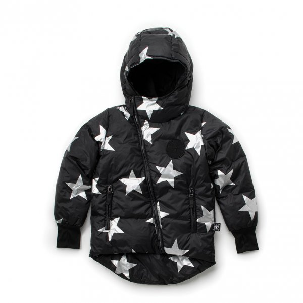 NUNUNU black down jacket Silver star kids fashion