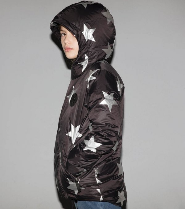 NUNUNU black down jacket Silver star side