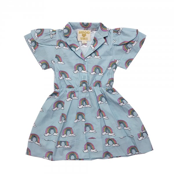 HUGO LOVES TIKI petal sleeve dress Blue Rainbows