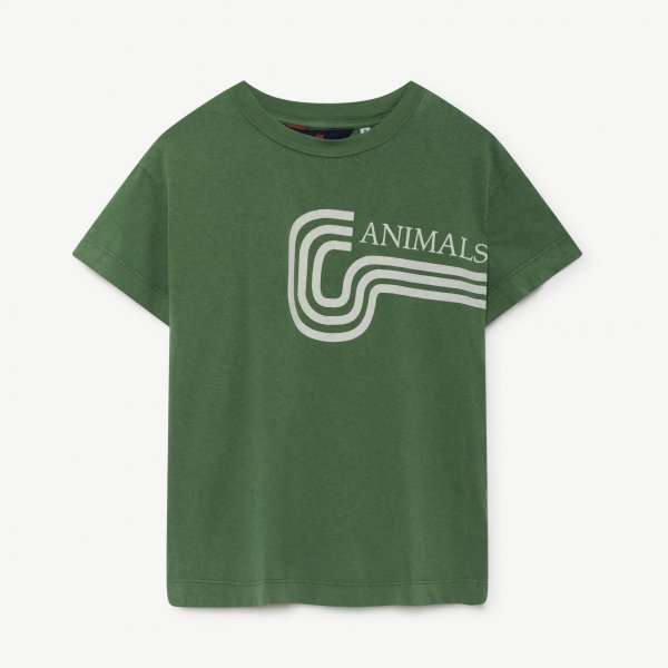 Neu: THE ANIMALS OBSERVATORY Rooster T-shirt Green Animals