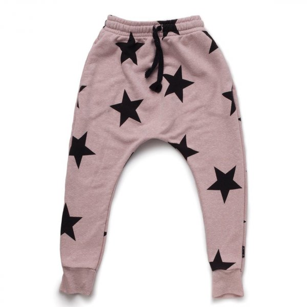 NUNUNU baggy pants stars powder pink