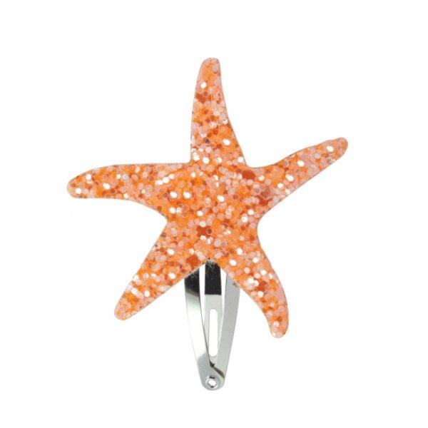 Haarspange-Seestern-orange-glitzer