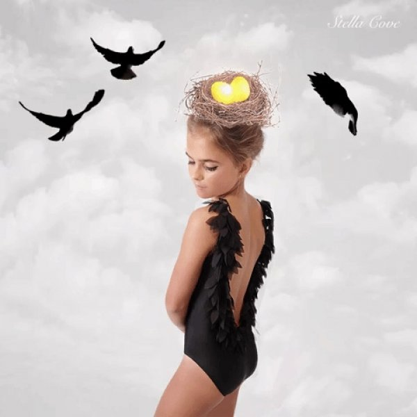 STELLA COVE black swimsuit with petals