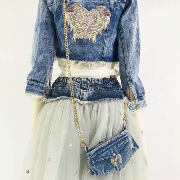 denim bag Dolly by Le Petit Tom