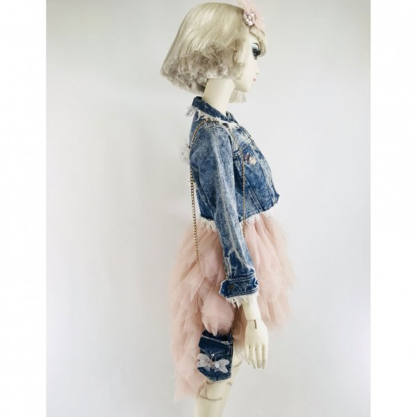 denim jacket teenager Dolly by Le Petit Tom side