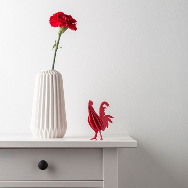 Lovi-wooden- rooster -red