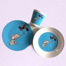 BY MARLENE Kindergeschirr Elefant (3 Teile) - hand gemaltes Design