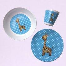BY MARLENE Kindergeschirr Giraffe (Set aus 3 Teilen) - hand gemaltes Design