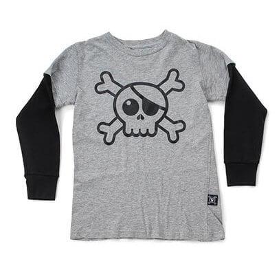 NUNUNU T-shirt skull grey
