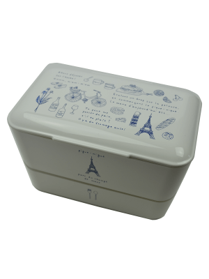 "TAKENAKA original Doppel Bento Box ""Balade a Paris"", Weiss."