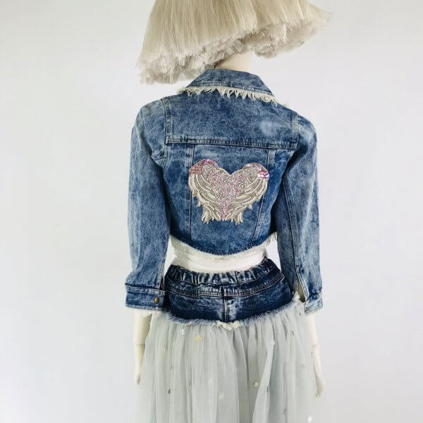 denim waist tutu DOLLY by Le Petit Tom backl lifestyle