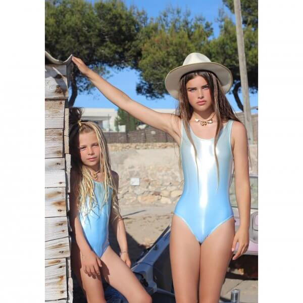 Liebing beachwear girl swimsuit Light blue metallic Ibiza life