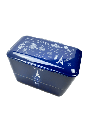 "TAKENAKA original Doppel Bento Box ""Balade a Paris"", Navy."