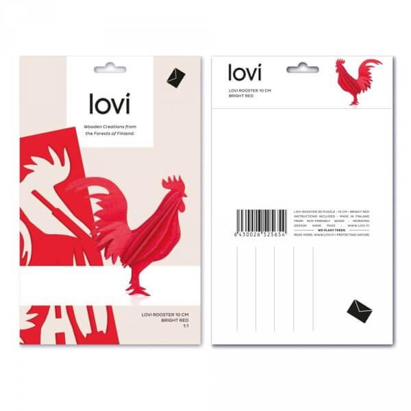 Lovi-Holz-hahn-dekoration-postkarte