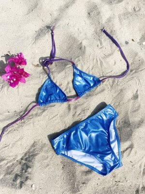LIEBING BEACHWEAR Bikini-hose im Metallic-Look Fading Purple (Ombre)