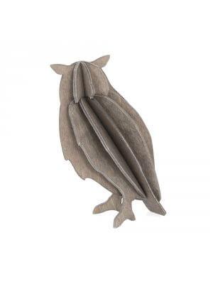 LOVI süße graue Holz-Eule DIY (9,5 cm)