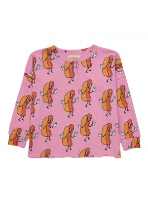 HUGO LOVES TIKI langarm Henley T-shirt Hot Dogs