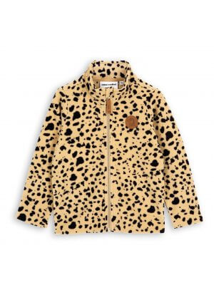 mini rodini fleece jacket kids leopard print