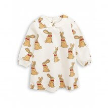 MINI RODINI woven dress rabbit