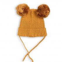 MINI RODINI warme Mütze mit Ohren, beige, Biobaumwolle
