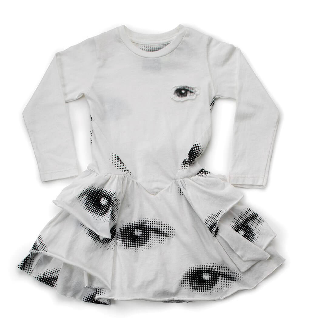 NUNUNU layered eye dress white
