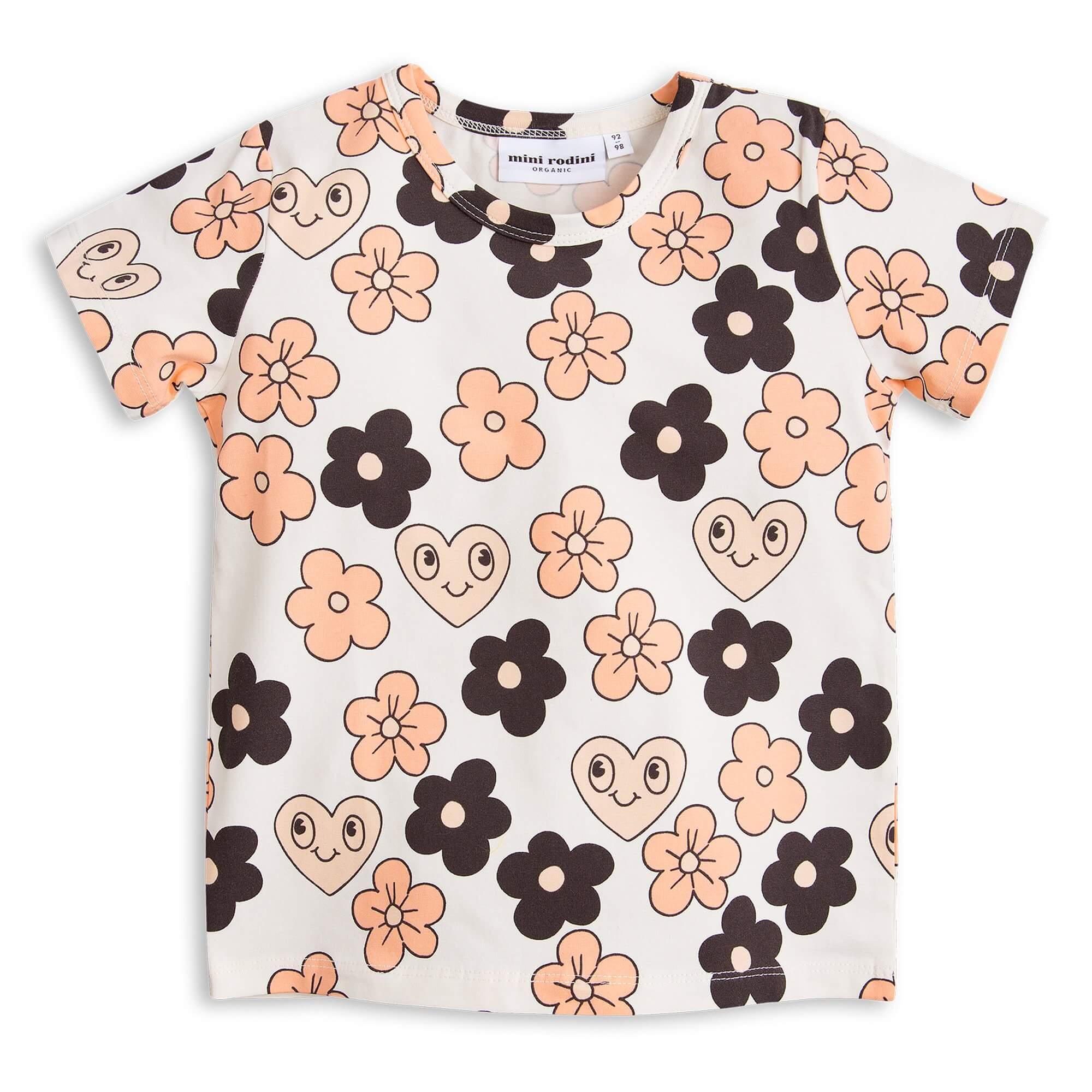 MINI RODINI T-Shirt mit Blumen off-weiss