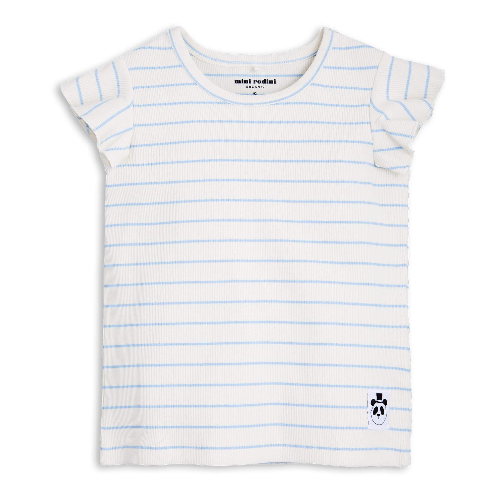 MINI RODINI Streifen-T-Shirt mit kleinen Rüschen