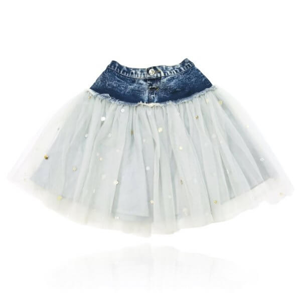 denim waist tutu DOLLY by Le Petit Tom