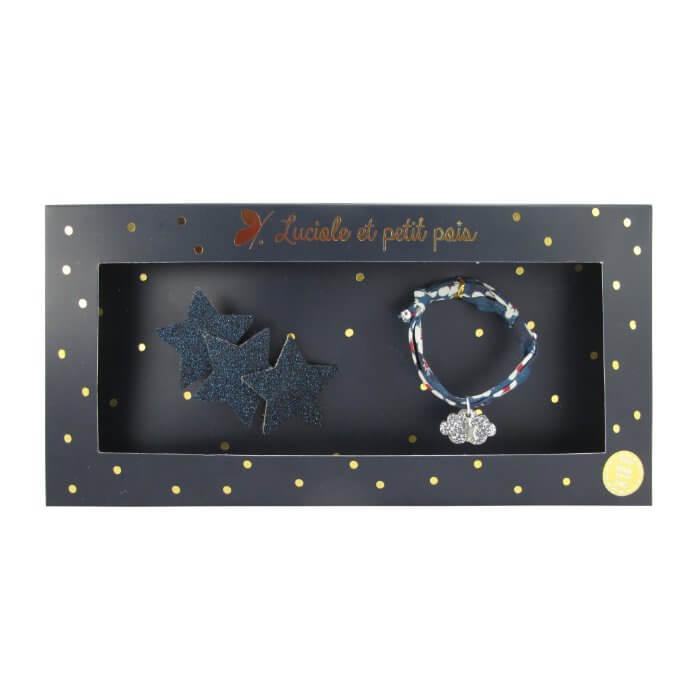 LUCIOLE ET PETIT POIS Geschenkset Glitzerhaarspange und Armband, blau