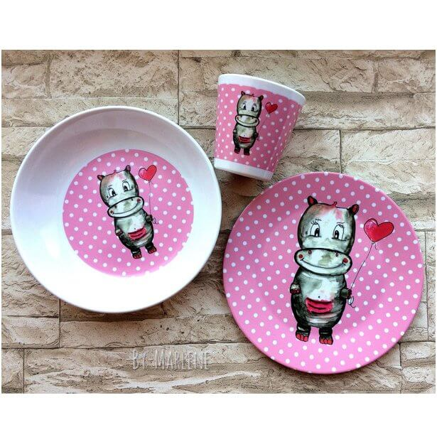 BY MARLENE children's tableware Hippo (set of 3) - personalized.