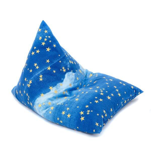 wigiwama-blauer Sitzsack-goldene-Sterne