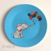BY MARLENE Melamin-Kinderteller Elefant - hand gemaltes Design