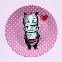 BY MARLENE Melamin-Kinderteller Nilpferd - hand gemaltes Design