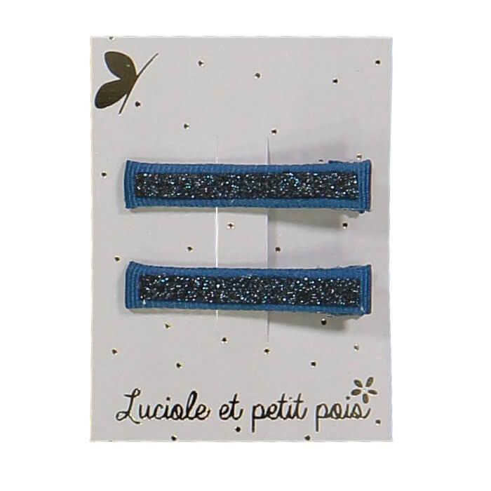 LUCIOLE ET PETIT POIS set of glitter crocodile hairclips Blue